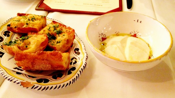 Carbone - garlic bread and fresh mozzarella