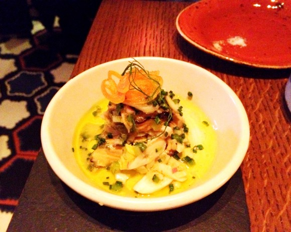 mussel and razor clam salad with saffron pickled shallots