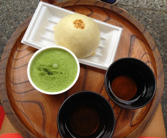 green tea sorbet and soy milk steamed buns