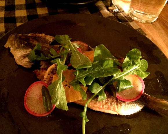 upland's whole grilled branzino with citrus scallion vinaigrette