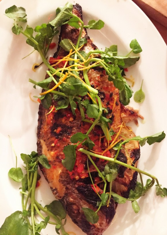 vic's whole roasted l.i. porgy with watercress and chilies