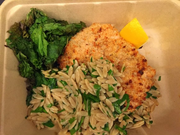 chicken piccata with mustard greens and orzo