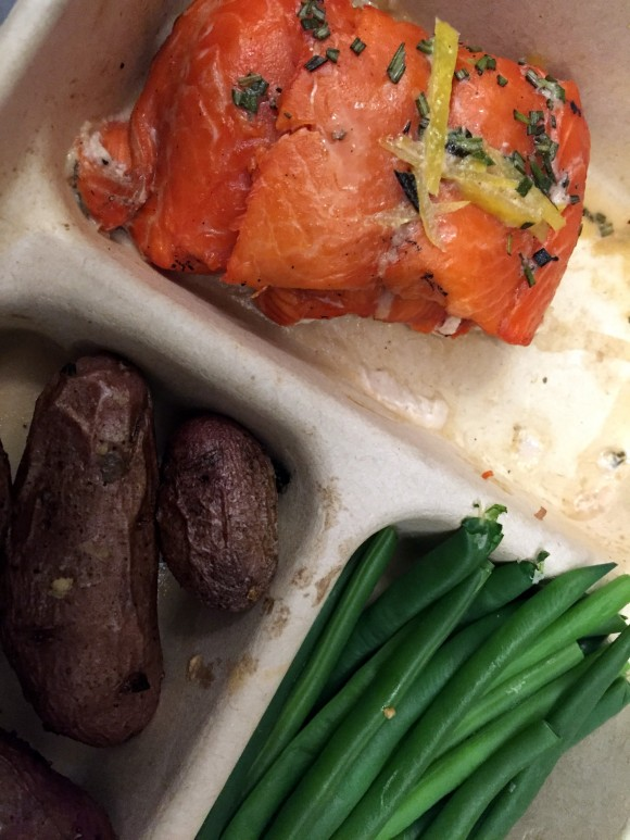 cedar planked salmon, fingerling potatoes and green beans