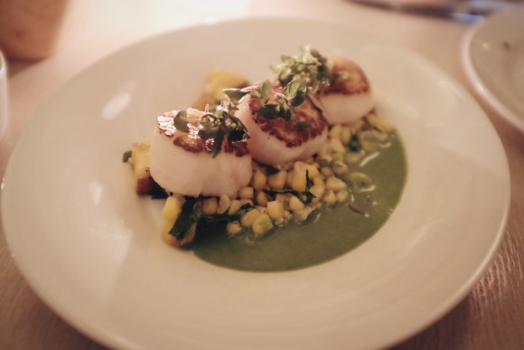 seared diver scallops with summer corn, tomatoes, pickled peach and green curry