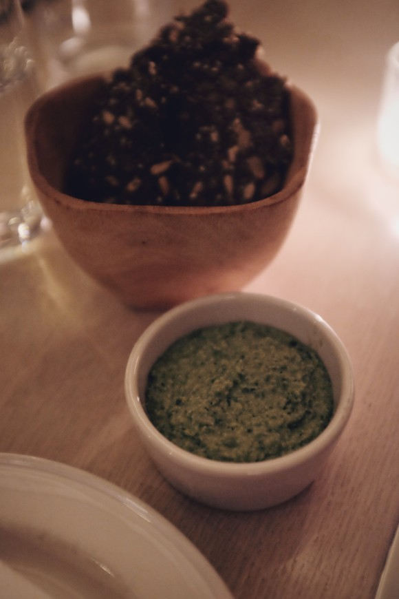 seed crackers and spring pea guacamole