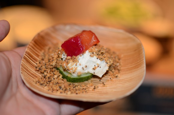 """good restaurant's beet-cured salmon, kirby cucumber, goat cream cheese and """"everything"""" crumble"""