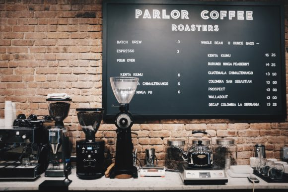 the tasting counter and coffee bar at parlor coffee