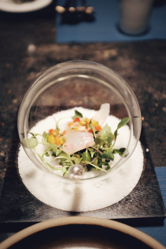 seasonal salad presented in a beautiful globe