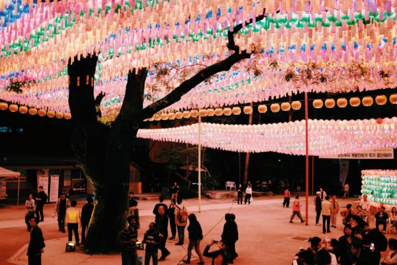 the brightly lit jogyesa temple