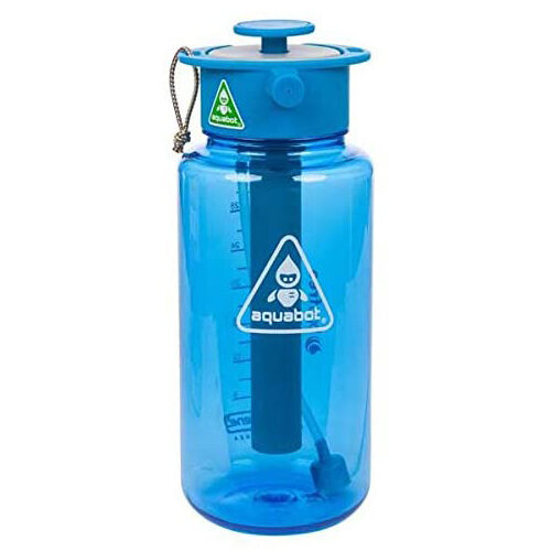 Lunatec Aquabot sport water bottle - a pressurized mister, camp shower and hydration in one. Portable running water for your pocket. BPA free. v2