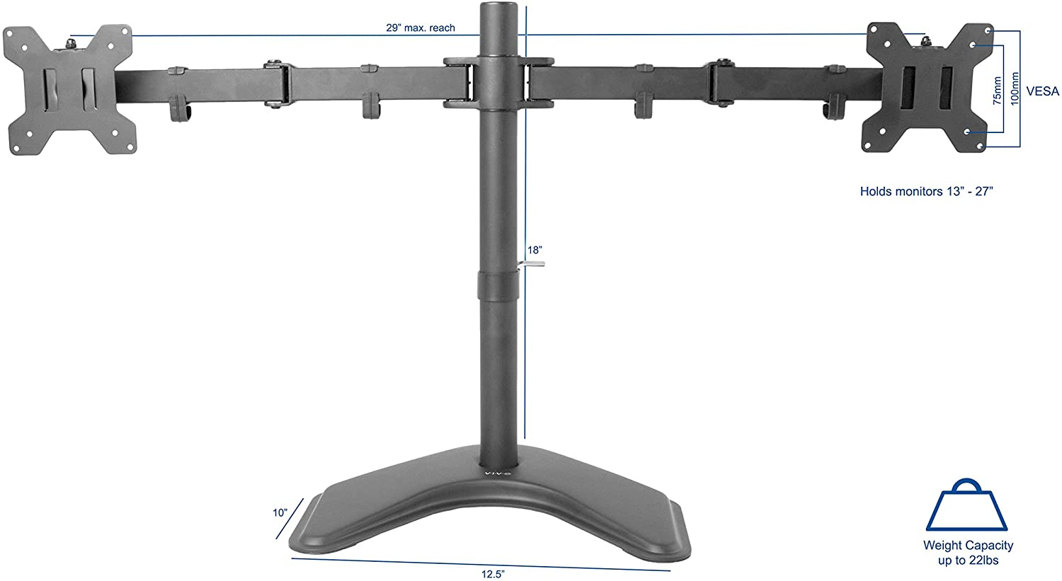 VIVO Dual LED LCD Monitor Free-Standing Desk Stand for 2 Screens up to 27 inches VESA - 2