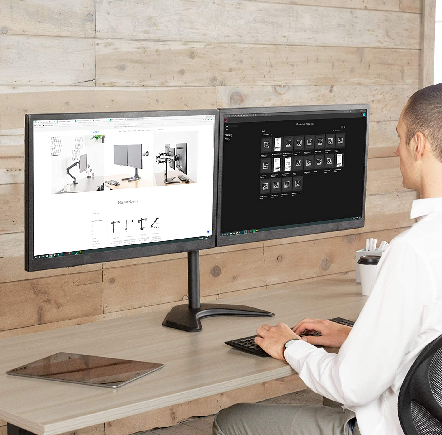 VIVO Dual LED LCD Monitor Free-Standing Desk Stand for 2 Screens up to 27 inches VESA - 4