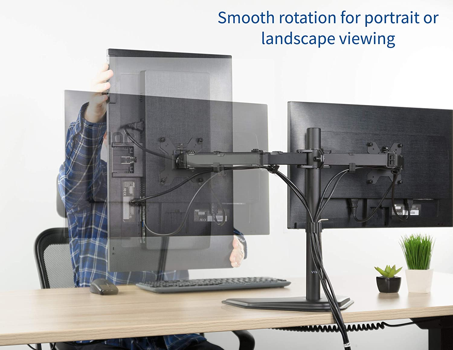 VIVO Dual LED LCD Monitor Free-Standing Desk Stand for 2 Screens up to 27 inches VESA - 6