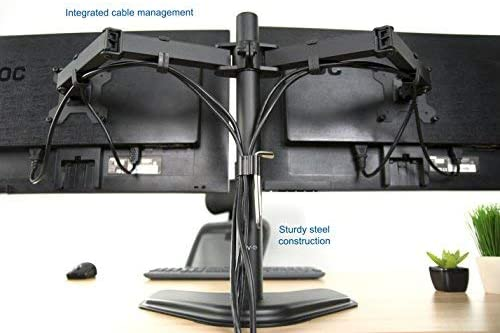 VIVO Dual LED LCD Monitor Free-Standing Desk Stand for 2 Screens up to 27 inches VESA - 7