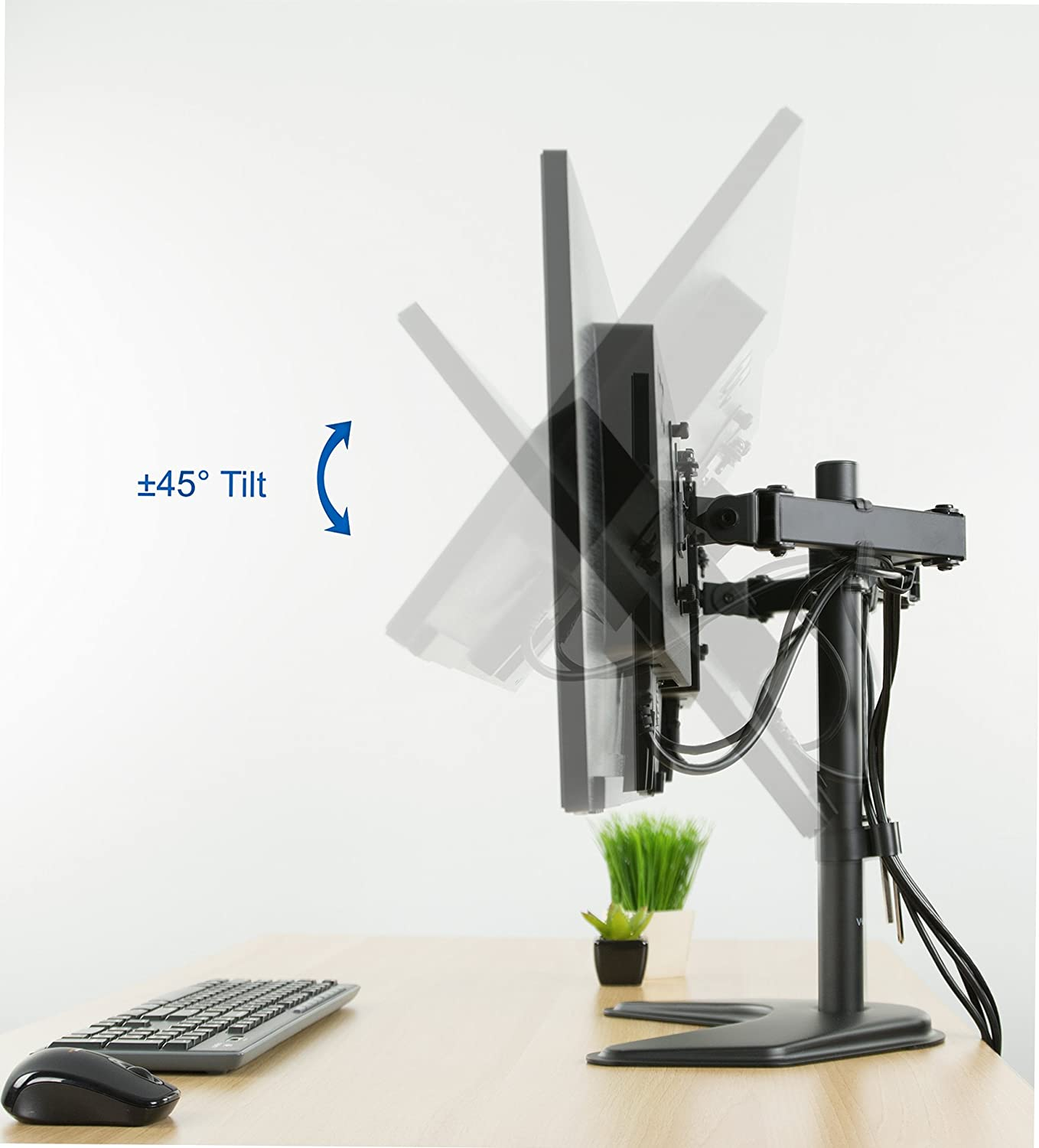 VIVO Dual LED LCD Monitor Free-Standing Desk Stand for 2 Screens up to 27 inches VESA - 8
