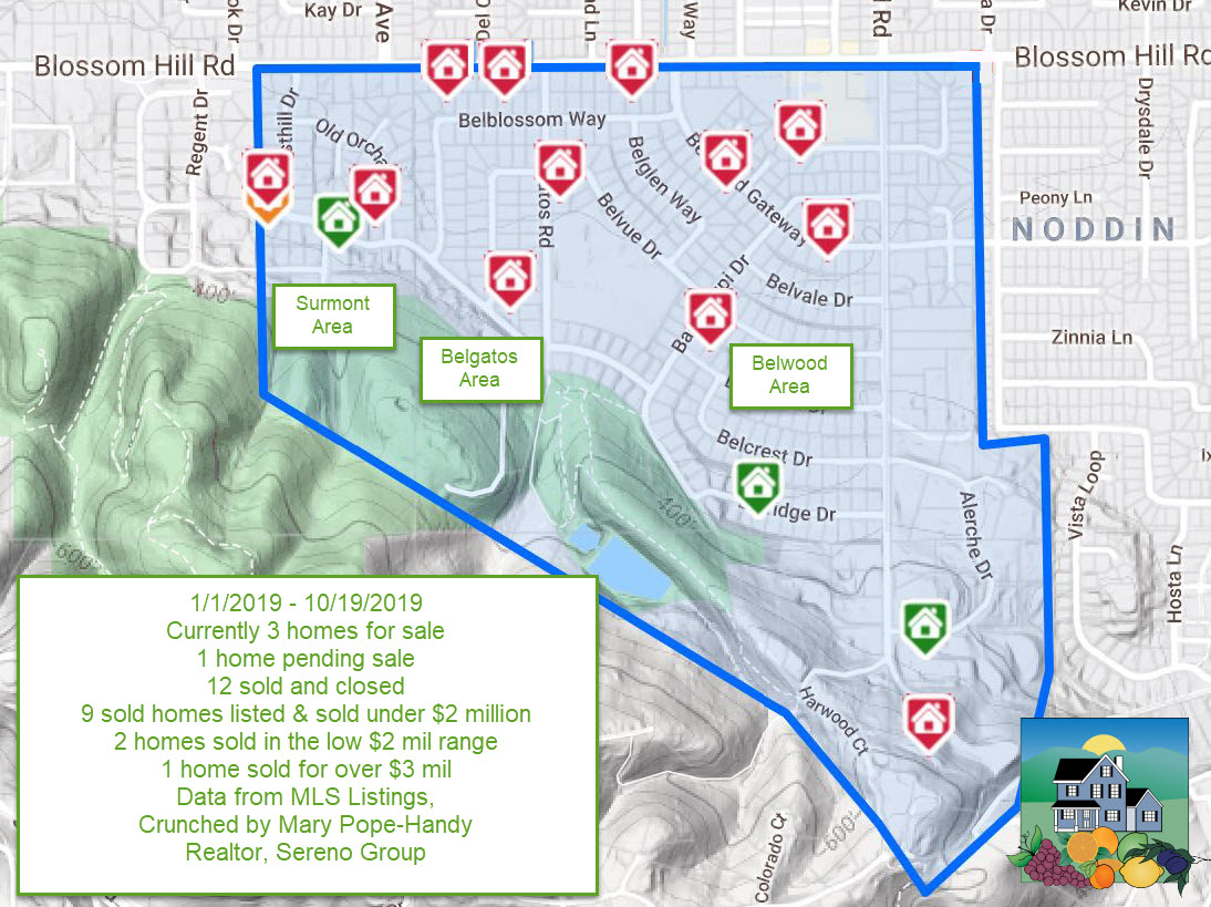 2019 10 19 Belwood area real estate activity YTD - Belwood, Belgatos, Surmont & nearby Los Gatos sales year to date
