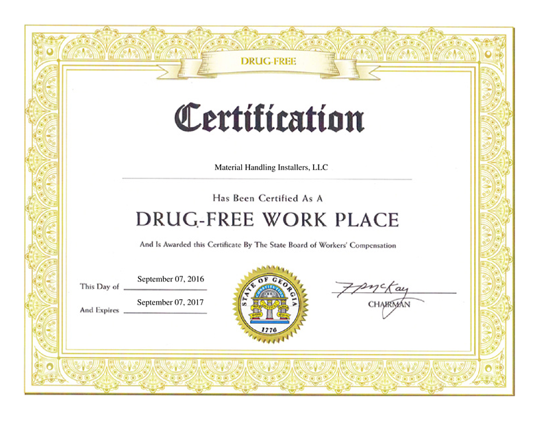 Drug Free Workplace Certificate