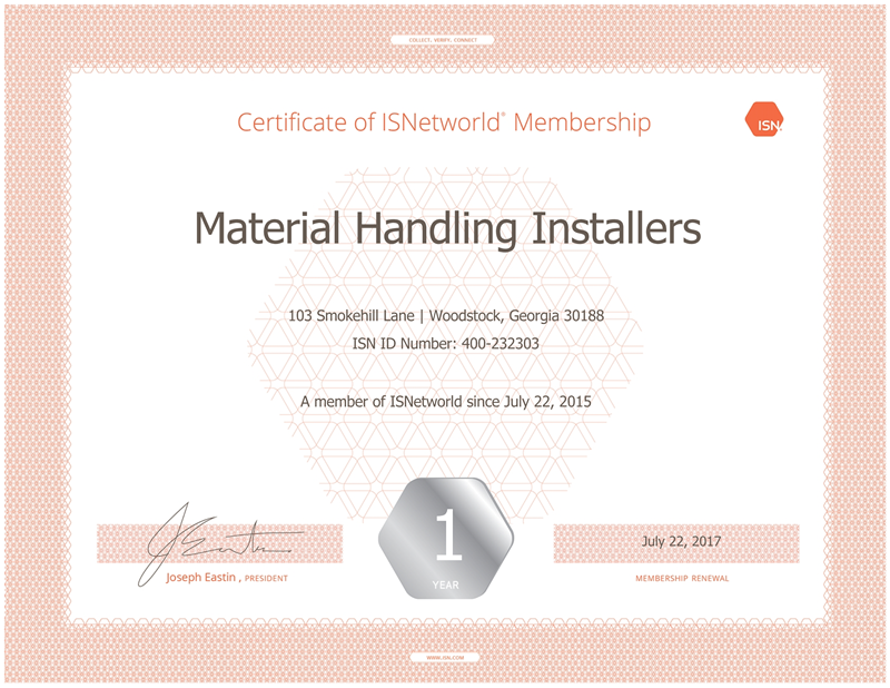 Material Handling Installers ISN Certificate