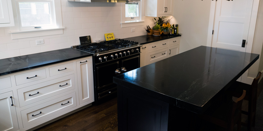 Soapstone Countertops with White Cabinets