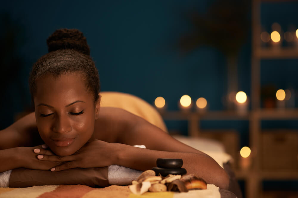Picture of woman enjoying a New Braunfels Spa