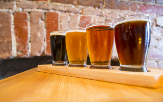 Photo of a Flight of Beer at a New Braunfels Brewery.