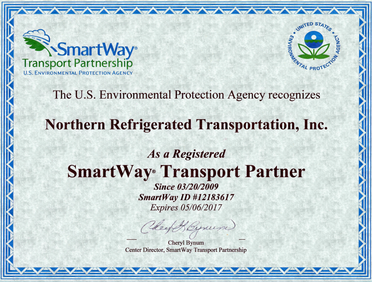 Northern Refrigerated SmartWay Transport Partner Certification