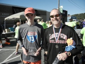 Noel Manning, right, and his son after a race.
