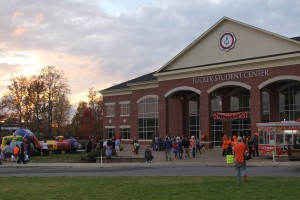 Community members gather at the Tucker Student Center to participate in Octoberfest. Photo by: Hannah Haggerty