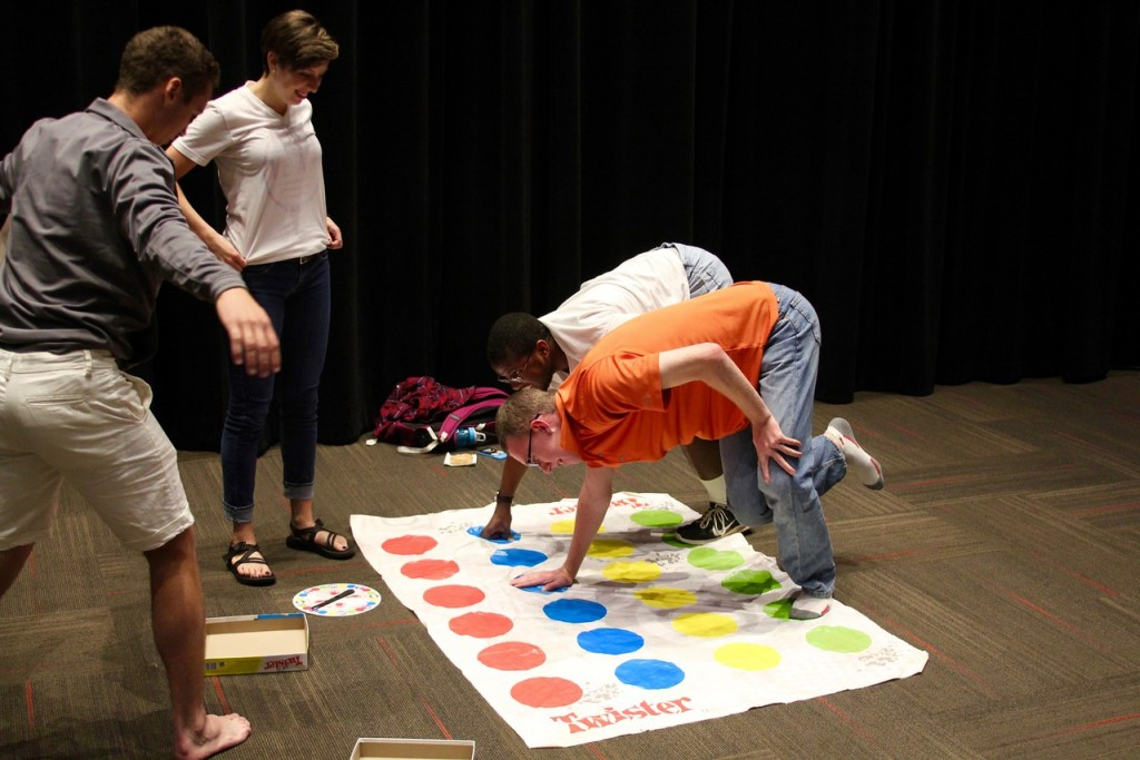 In addition to free donuts, students were given a variety of games to play including Twister.