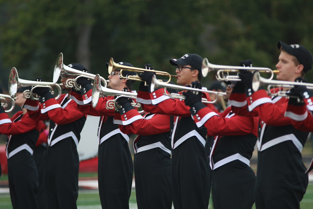 The marching band performing the National Anthem at the start of Saturday's game. Photo by Megan Hartman.
