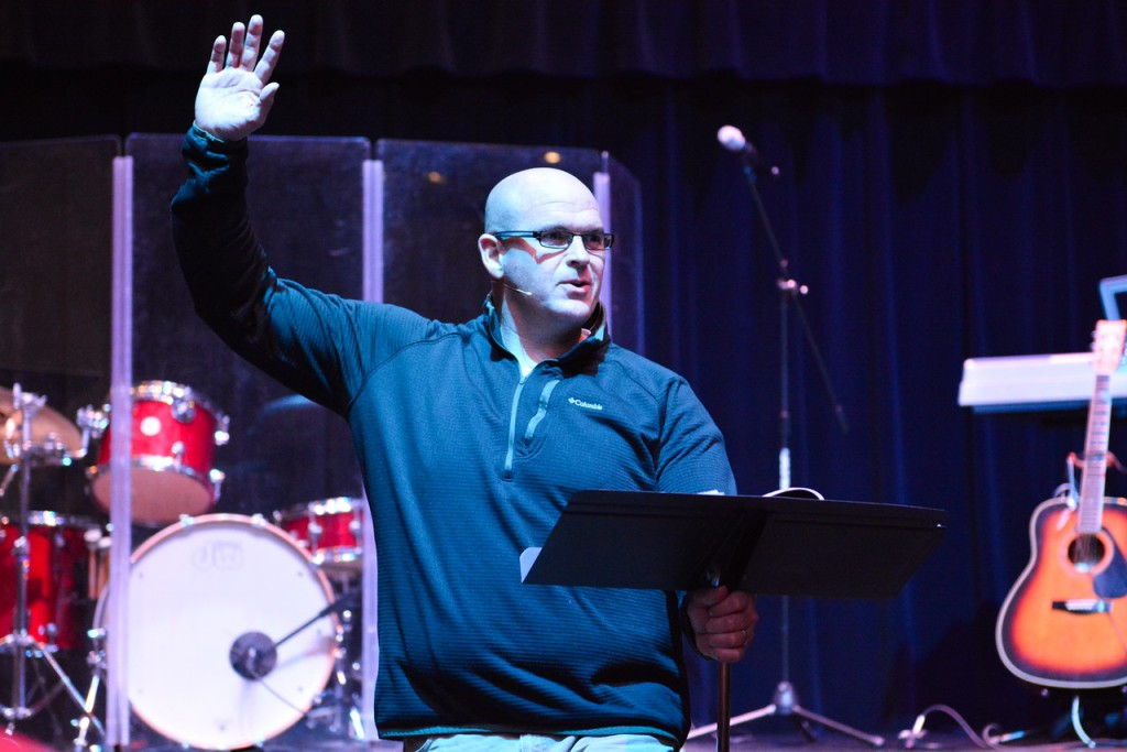 Brian Burgess speaks at Thursday's gathering. Photo by Madison Weevil