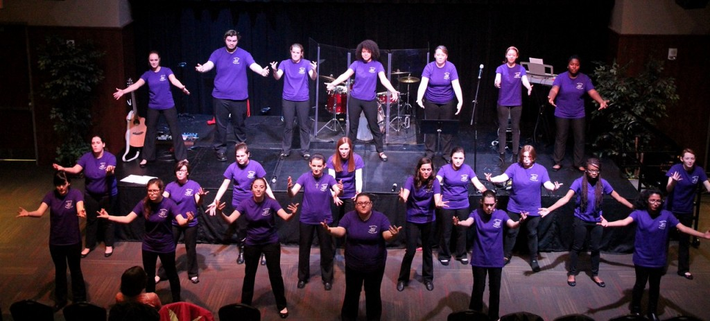 Gardner-Webb's Joyful Hand's Sign Language Choir started off day two of the annual celebration week. Photo by: Elizabeth Banfield