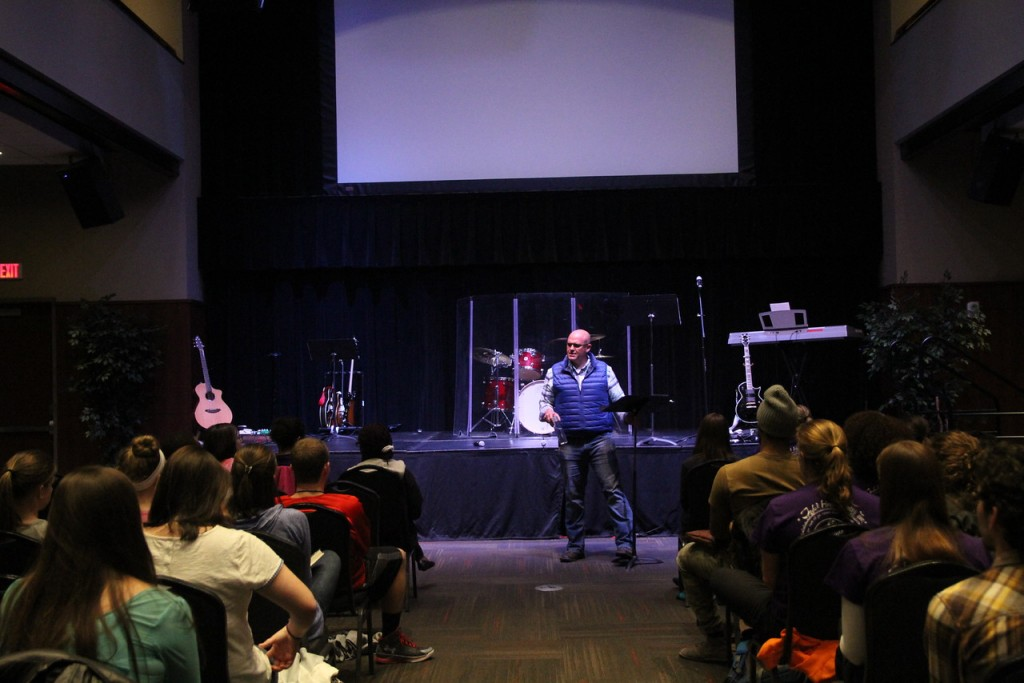 Brian Burgess, Celebration Week's guest speaker, shared about 2 Corinthians 12 on Tuesday night. Photo by Elizabeth Banfield