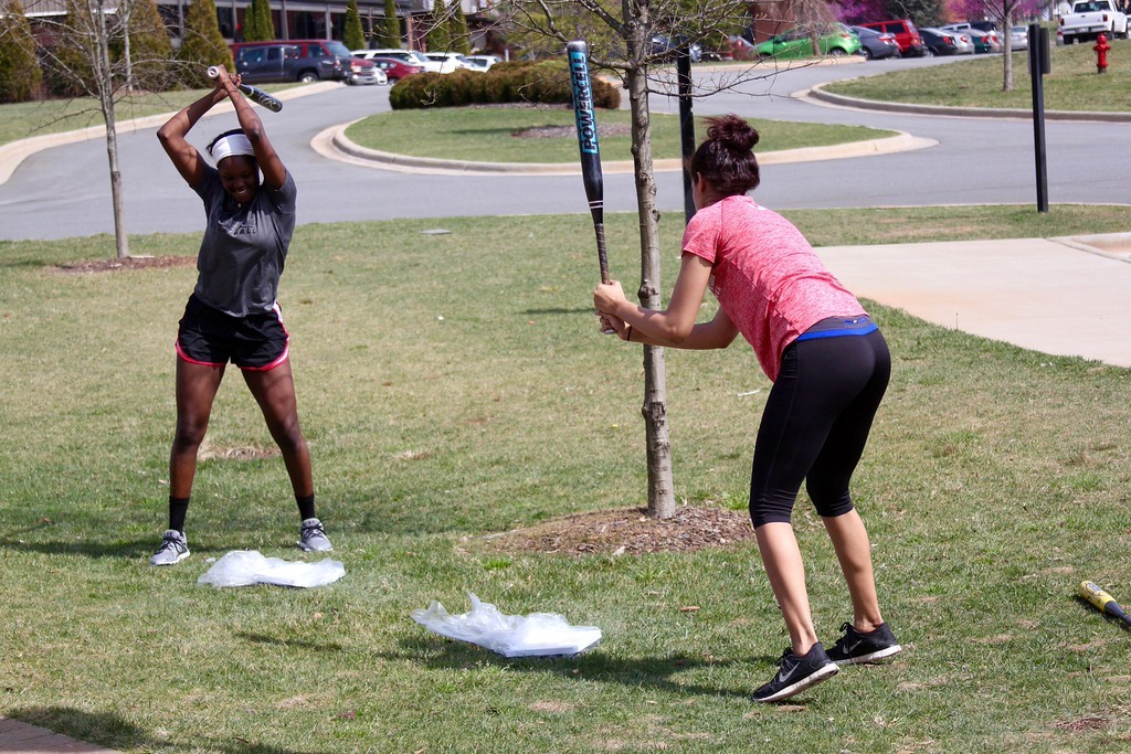 Students were encouraged to smash scales for eating disorder awareness.