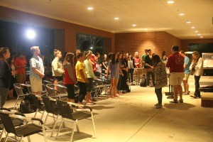 Students gather in worship in preparation for the week of awareness. Photo by Megan Hartman