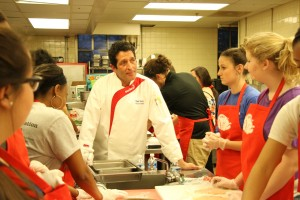 Chef Bob Katz led students through step by step directions on how to make their dishes. Photo by Elizabeth Banfield