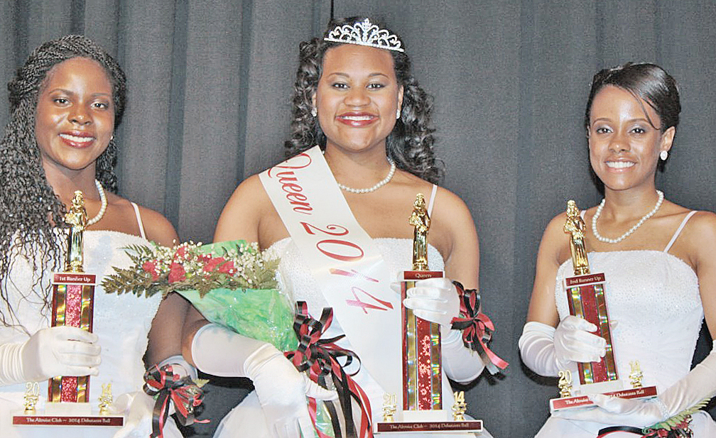 From left: Asia Stephens, Aaliyah Gray, and Jamyra Ball at the 61st Debutante Ball held at Hotel Roanoke and Conference Center.