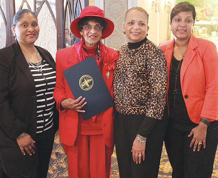 From left: Kelly Mason, mother Peggy Sue Mason, Councilwoman Anita Price and Tina Mason Brown at the birthday luncheon held at Hotel Roanoke.