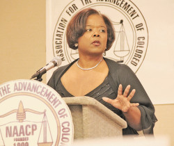 Keynote Banquet speaker Sharon Lettman-Hicks delivers a rousing address at the 17th Annual NAACP Citizen of the Year Awards Banquet Friday, May 22. – photos by S. Rotan Hale
