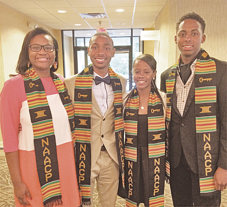 Honorees (from left): Aaliyah Gray, past president, Youth Council;Blake Barnes, president;Jamyra Ball, honor student;Jamel Hale, honor athlete.