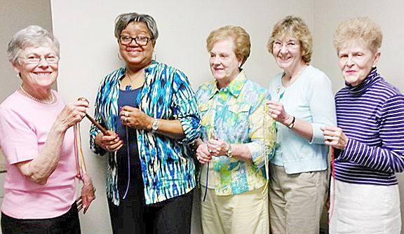 Presentation (l-r): Jackie Frith, Gloria Manns, Shelby Hodges, Lynne Victorine, and Marlene Wine.