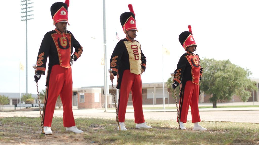 Candace Hawthorne, right, joins Deante Gibson and Sheavion Jones as drum majors in the Tiger Marching Band of Grambling State University. Hawthorne is the only woman drum major at the university since Velma Patricia Patterson in 1952. (Courtesy of Grambling State University)