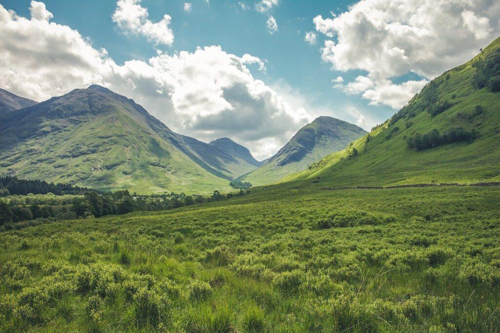 mountains, landscape, meadow