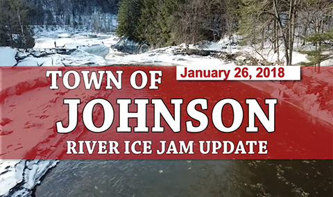 Town of Johnson, 1/26/18 – Lamoille & Gihon River Ice Jam Update 2
