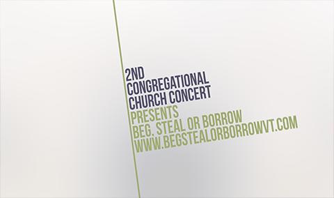 Second Congregational Church – Beg, Steal or Borrow 4/12/19
