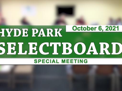 Hyde Park Special Selectboard 10/6/21