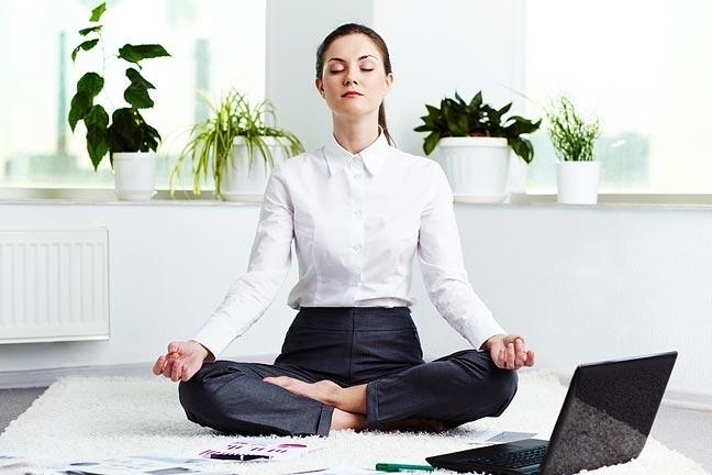 office woman meditation