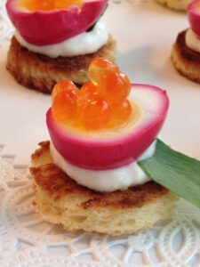 Beet Pickled Quail Egg with Salmon Roe