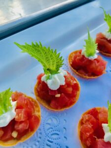 Tuna Tartar on Wonton Crisp
