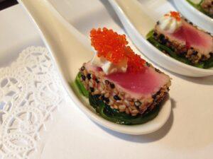 Sesame Seared Tuna with Wasabi Cream and Seaweed Salad